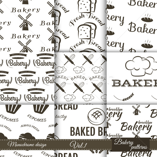 Set of bakery seamless patterns. Vector bake backgrounds with cooking elements. Fresh bread, dessert Stock photo © JeksonGraphics