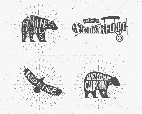 Set of Vintage silhouette hand drawn lettering slogans. Retro monochrome animal design with inspirat Stock photo © JeksonGraphics