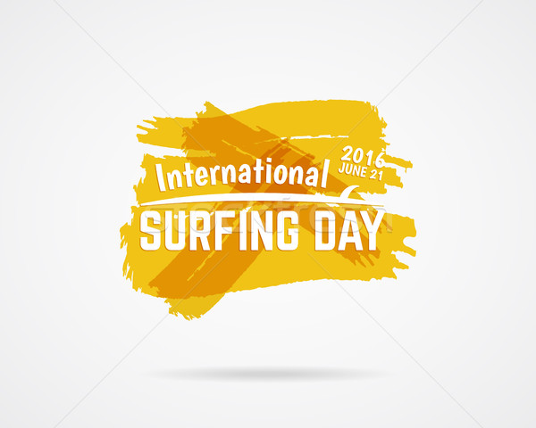 Summer surfing day graphic elements. Vacation typography emblem. Surfer party label with surf symbol Stock photo © JeksonGraphics