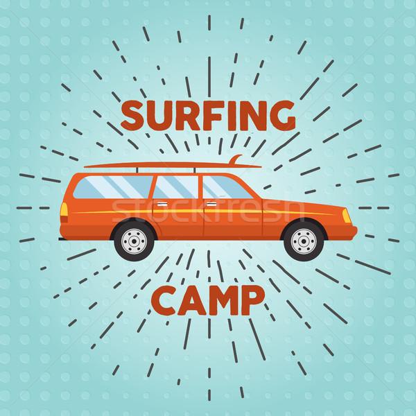 Vector retro flat web banner design on surfing, best summer vacation, beach recreation, water activi Stock photo © JeksonGraphics