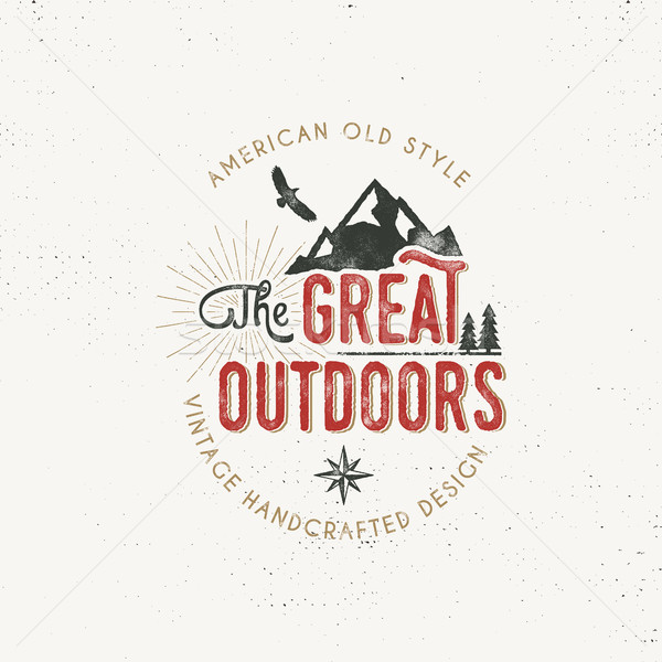Vintage outdoors label. Retro illustration of outdoors label. Typography and rough style. Vector out Stock photo © JeksonGraphics