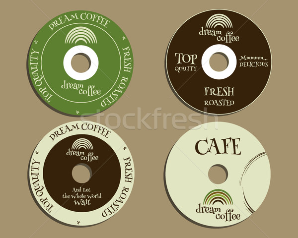 Brand identity elements - CD, DVD templates. sign, icon. Compact, disc, symbol. For cafe, restaurant Stock photo © JeksonGraphics