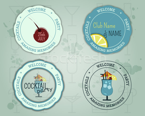 Zomer cocktail party badge logo lay-out sjabloon Stockfoto © JeksonGraphics