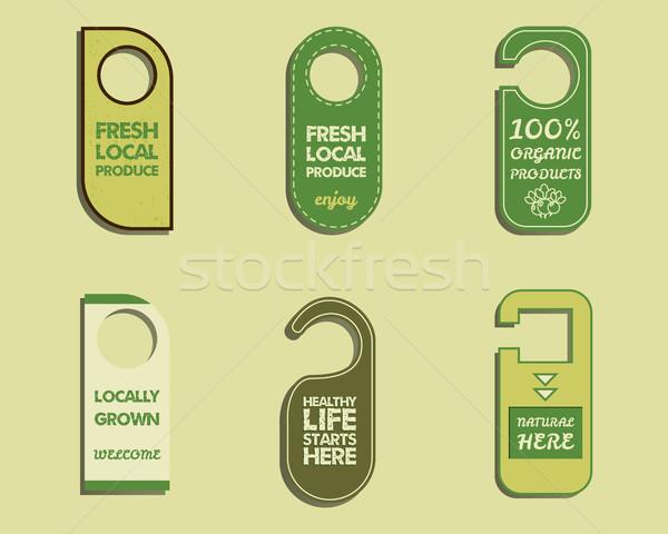 Elegante fazenda fresco orgânico marca porta Foto stock © JeksonGraphics