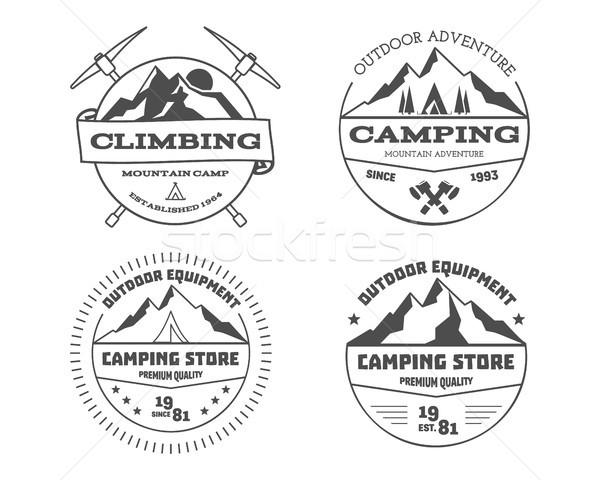 Set of monochrome outdoor camping adventure and mountain, climbing, hiking badge logo, emblem, label Stock photo © JeksonGraphics