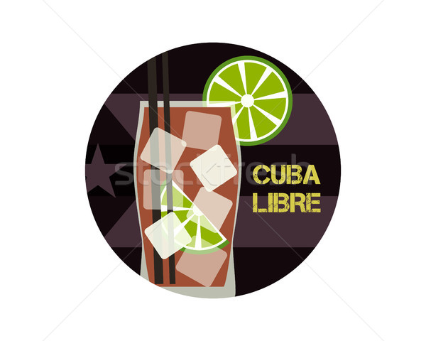 Cuba Libre cocktail. Can be used as icon, logo template, illustration or another way. Modern design. Stock photo © JeksonGraphics