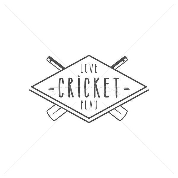 Cricket club emblem and design elements. team logo . line stamp. Sports symbols with gear, equipment Stock photo © JeksonGraphics