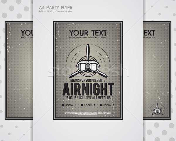 Party Leaflet, airplane brochures, cover, club night page layout templates. Halftone dotted design,  Stock photo © JeksonGraphics