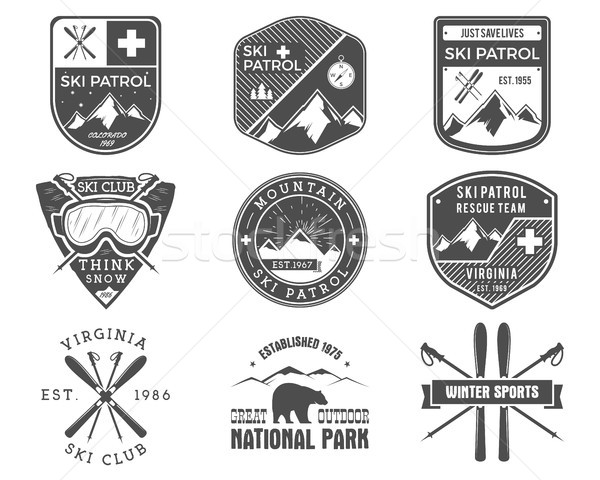 Set of Ski Club, Patrol Labels. Vintage Mountain winter sports explorer badges Outdoor adventure log Stock photo © JeksonGraphics