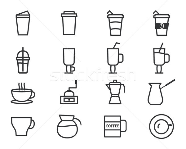 Coffee and cocktails outline elements and symbol line icon isolated on white background. Can be used Stock photo © JeksonGraphics