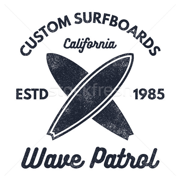 Vintage Surfing tee design. Retro t-shirt Graphics and Emblems for web or print. Surfer, beach style Stock photo © JeksonGraphics