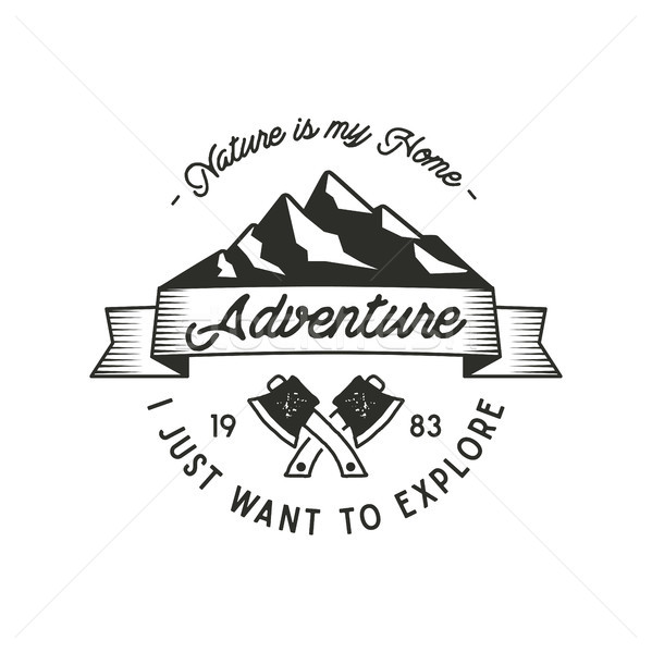 Mountain expedition adventure label with axe symbols and typography design nature is my home . Vinta Stock photo © JeksonGraphics