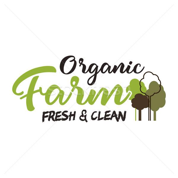 Organic farm typography emblem. Lettering and calligraphy logo design. Included trees symbols. Isola Stock photo © JeksonGraphics