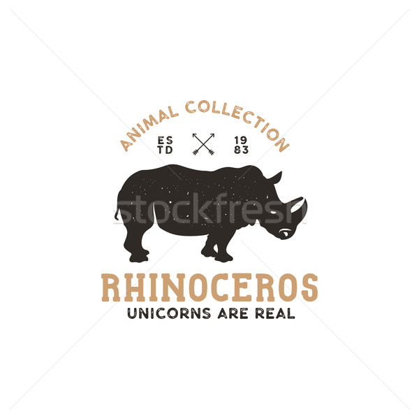 rhino wild animal logo template. Stock vector isolated Stock photo © JeksonGraphics