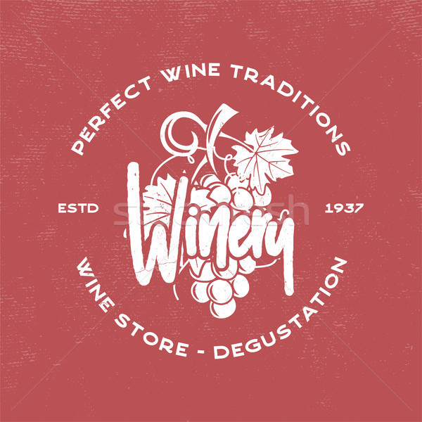 Wine, winery logo template. Drink, alcoholic graffiti art, beverage symbol. Vine icon and typography Stock photo © JeksonGraphics