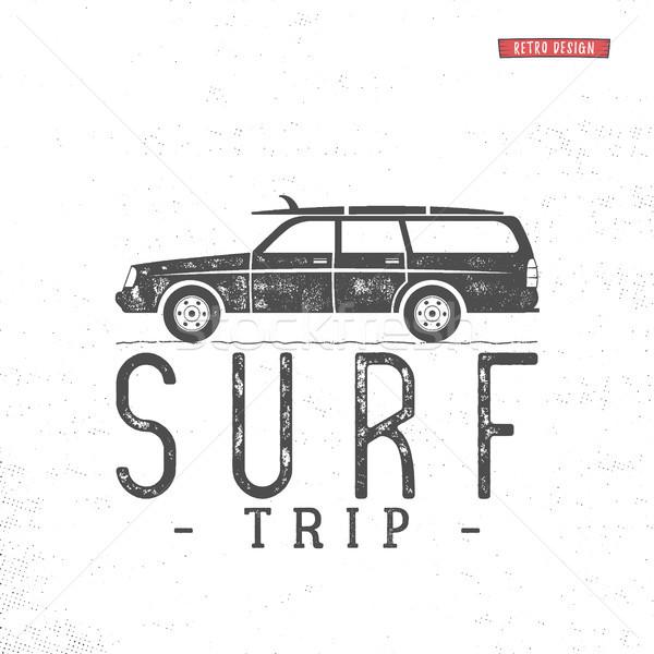 Surf trip concept Summer surfing retro badge. Beach surfer emblem , motorcycle outdoors banner. Surf Stock photo © JeksonGraphics