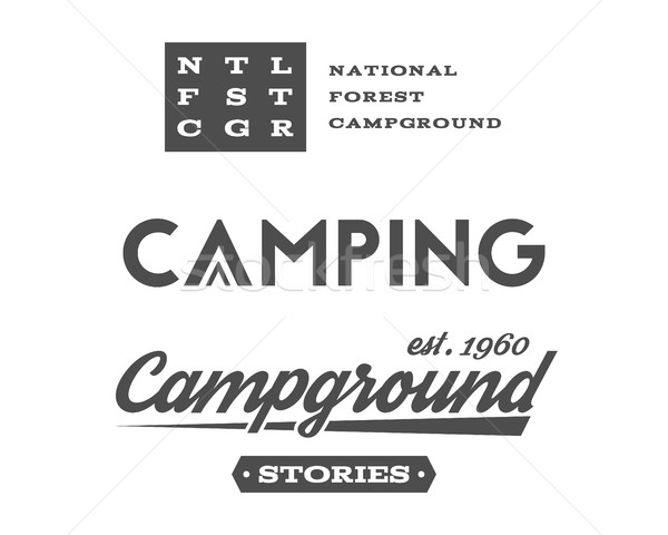 Set of retro camping badges and label logo graphics. Campground, mountain emblems, travel insignia.  Stock photo © JeksonGraphics