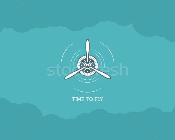 Vintage Airplane background with sky. Propeller emblem. Biplane label. Retro Plane wallpaper, design Stock photo © JeksonGraphics