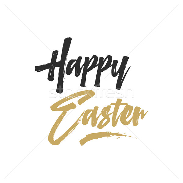 Easter sign - Happy Easter. Easter wishe overlay, lettering label design. Retro holiday badge. Hand  Stock photo © JeksonGraphics