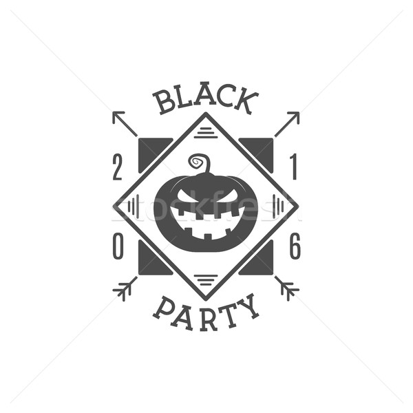 Happy Halloween 2016 black party invitation label. Typography insignia for celebration holiday. Retr Stock photo © JeksonGraphics