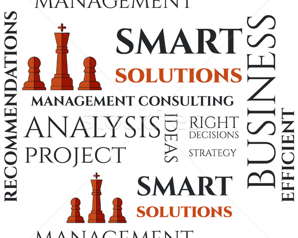Smart solutions seamless pattern with management Consulting keywords concept. Business. On white bac Stock photo © JeksonGraphics
