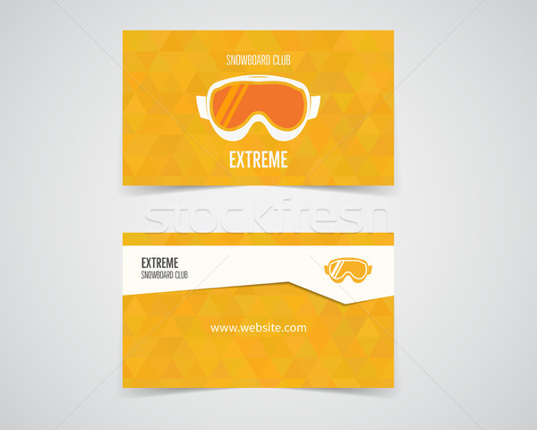 snowboard business card. Orange palette. Good for extreme sport club. Vector design Stock photo © JeksonGraphics