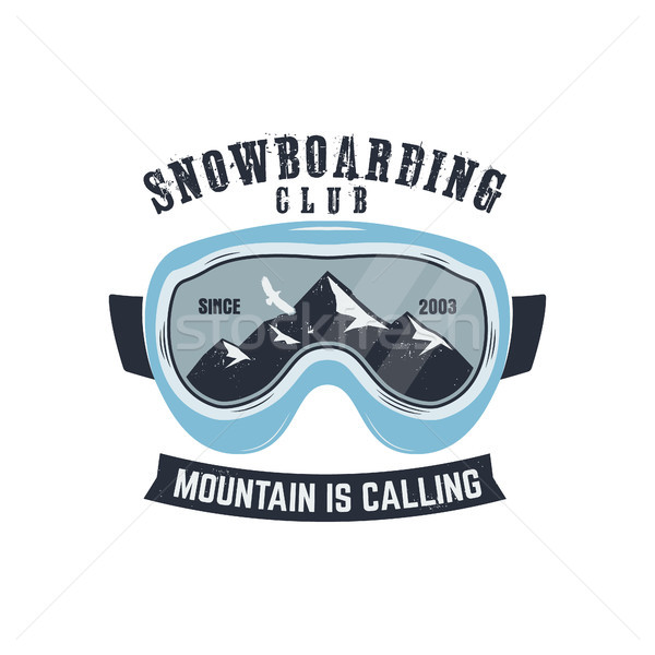 Snowboarding goggles logo and label template. Winter snowboard sport store badge. Extreme emblem and Stock photo © JeksonGraphics
