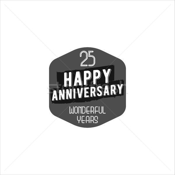 Happy 25th anniversary badge, sign and emblem. Retro monochrome design. Easy to edit and use your nu Stock photo © JeksonGraphics