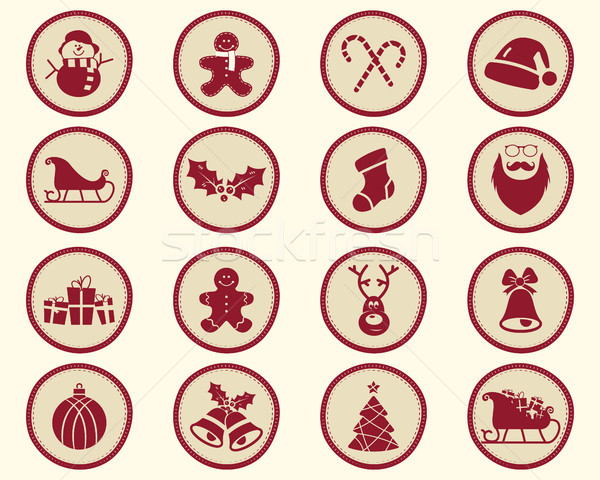 Christmas, winter Badge and Design Elements with holiday symbols for kids. New Year labels,oliday el Stock photo © JeksonGraphics