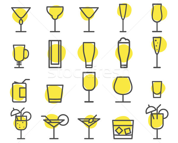 Beverage icons set. Cocktail, drinks outline symbols. Beer, wine, cognac emblems. Alcohol line cockt Stock photo © JeksonGraphics