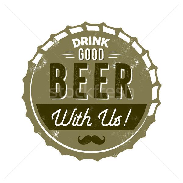 Vintage estilo cerveza placa tinta sello Foto stock © JeksonGraphics