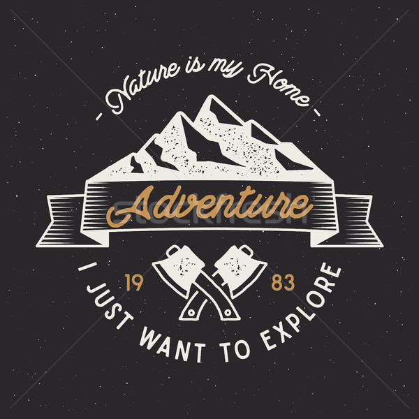 Vintage adventure label. Mountain expedition emblem with crossed axes and typography design nature i Stock photo © JeksonGraphics