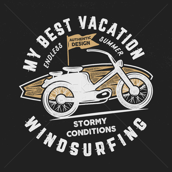 Vintage hand drawn windsurfing, surfing tee graphic design. Summer travel t shirt. poster concept wi Stock photo © JeksonGraphics