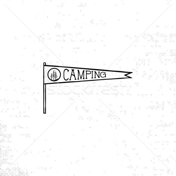 Camping pennant template. Vintage Hand drawn pennant in monochrome design. Best for t-shirts, travel Stock photo © JeksonGraphics
