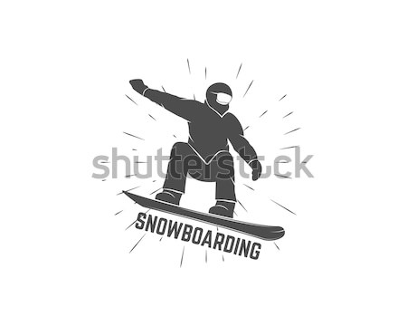 Snowboard logo étiquette modèle sports d'hiver badge Photo stock © JeksonGraphics