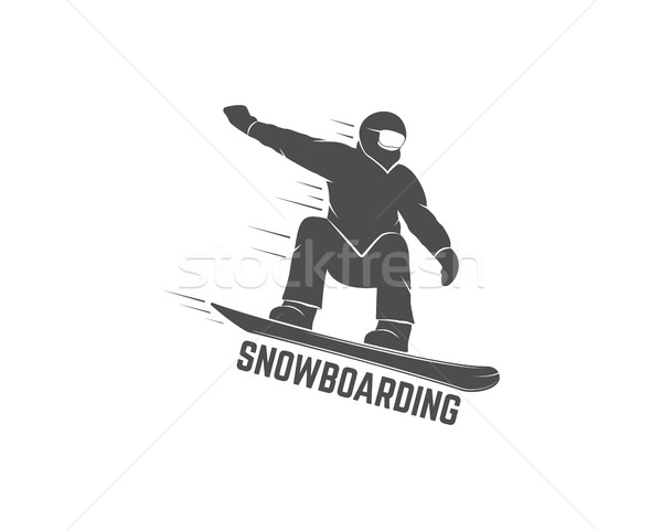 Snowboarding logo, label template. Winter sport badge. Extreme Emblem and icon. Adventure insignia.  Stock photo © JeksonGraphics