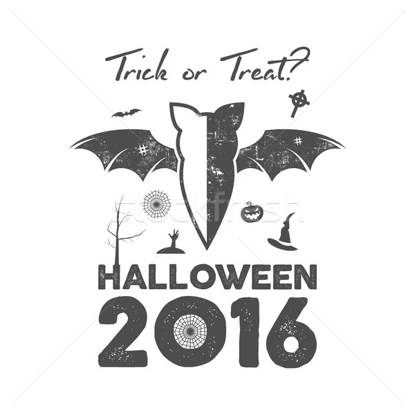 Happy Halloween 2016 Poster or poster. Trick ot treat lettering and halloween holiday symbols - bat, Stock photo © JeksonGraphics