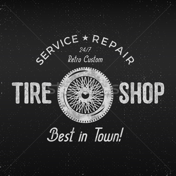 Vintage tire shop label design. Garage repair poster. Retro monochrome design. Good for tyre store,  Stock photo © JeksonGraphics