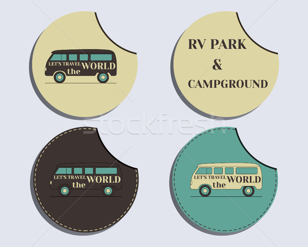 Set of unusual labels - stickers. Travel and Camping brand identity labels - stickers. Rv park and c Stock photo © JeksonGraphics