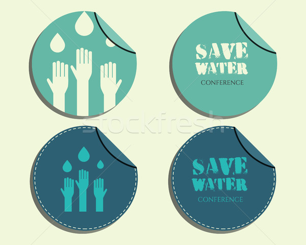 Save water conference badges and labels invitation template with drops and hands logo template. Isol Stock photo © JeksonGraphics