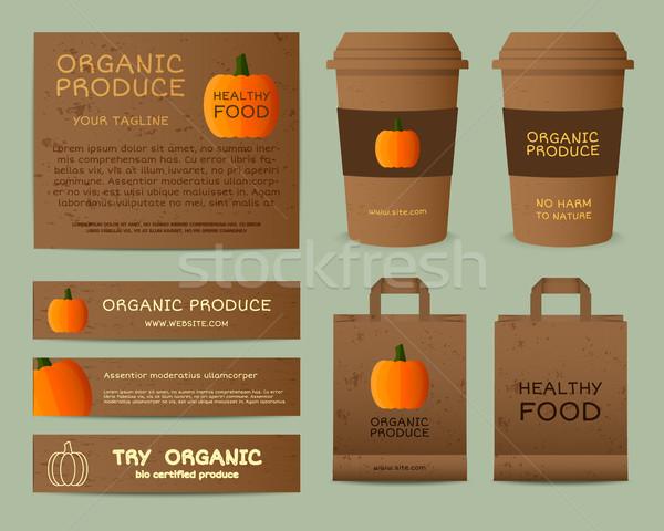 Naturale business corporate identità design zucca Foto d'archivio © JeksonGraphics