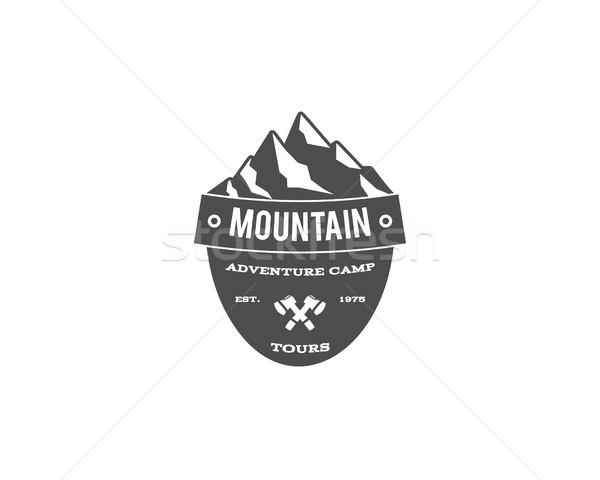 Old style mountain trekking, climbing hiking camping badge, outdoor logo, emblem, stamp and label co Stock photo © JeksonGraphics