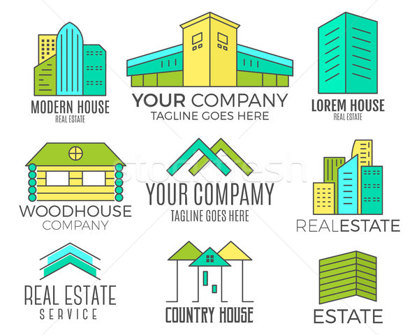 Set of vector house logo designs, real estate icon suitable for info graphics, websites and print me Stock photo © JeksonGraphics