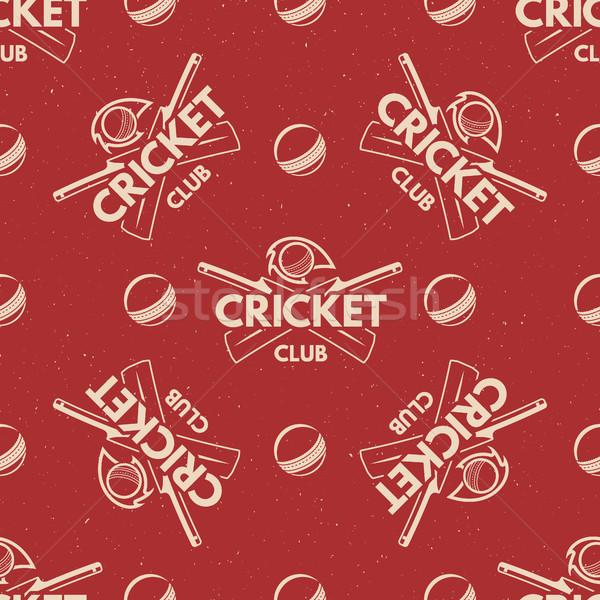 スポーツ パターン クリケット レトロな シームレス ストックフォト © JeksonGraphics