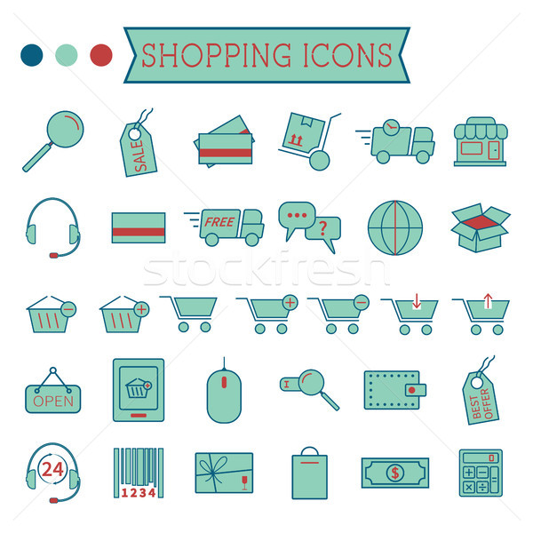 Set of On-Line Shopping icons isolated on white background. Stylized 3 colors. Minimalistic design.  Stock photo © JeksonGraphics