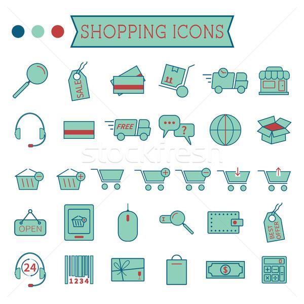Ayarlamak online alışveriş simgeler yalıtılmış beyaz stilize Stok fotoğraf © JeksonGraphics