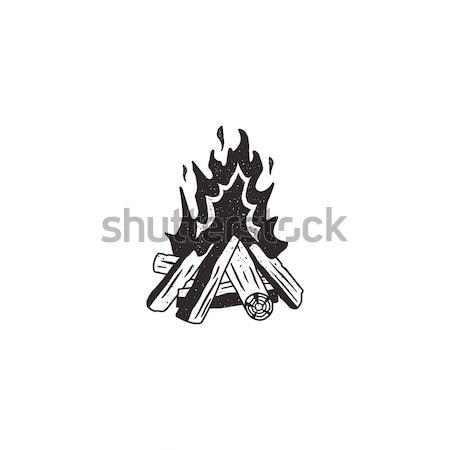 Máglya retro ikon kéz fa felirat Stock fotó © JeksonGraphics