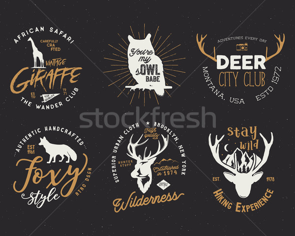 Wild animal badges set. Included giraffe, owl, fox and deer shapes. Stock vector isolated on dark ba Stock photo © JeksonGraphics