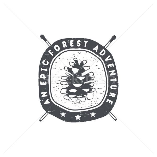 Vintage dessinés à la main forêt aventure badge emblème Photo stock © JeksonGraphics
