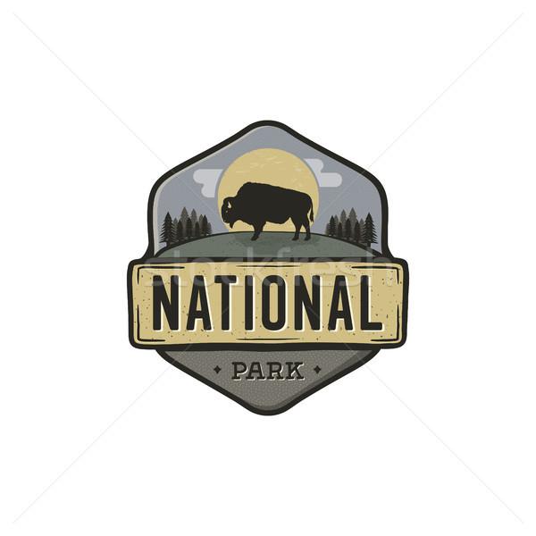 National park vintage badge. Mountain explorer label. Outdoor adventure logo design with bison. Trav Stock photo © JeksonGraphics